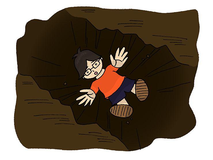 谷底に堕ち行く男の子