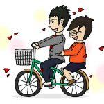 二人で自転車に乗るゲイカップル