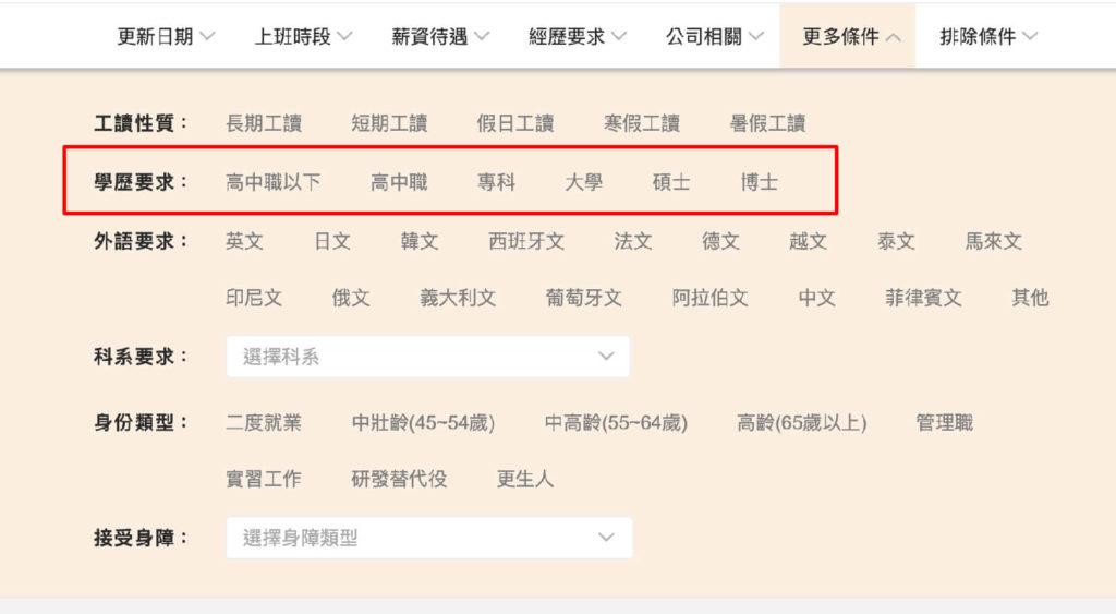 台湾の就職サイト「104人力銀行」の求人情報絞り込み(學歷要求)