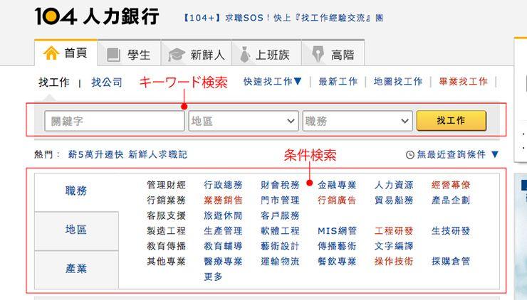 台湾の就職サイト「104」の使い方説明_2