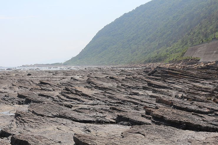 台北・福隆「舊草嶺環狀線」サイクリングロードから見えるケスタ地形の海岸