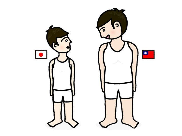 日本男子と台湾男子の身長比較