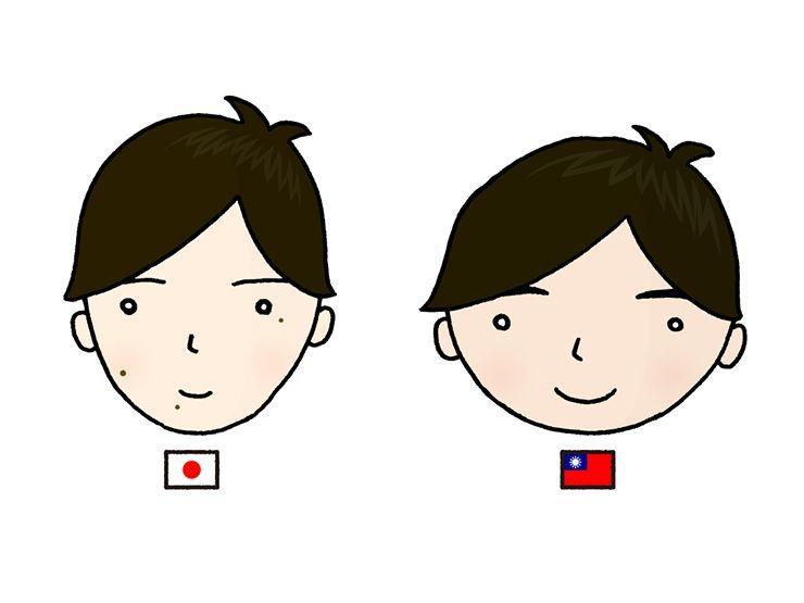 日本男子と台湾男子のホクロ比較