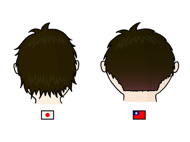 日本男子と台湾男子の髪型比較