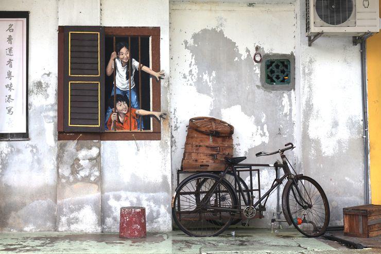 マレーシア・ジョージタウンのウォールアートと自転車