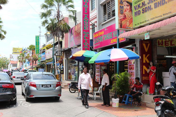 マレーシア・ジョージタウン「リトルインディア」の街並み