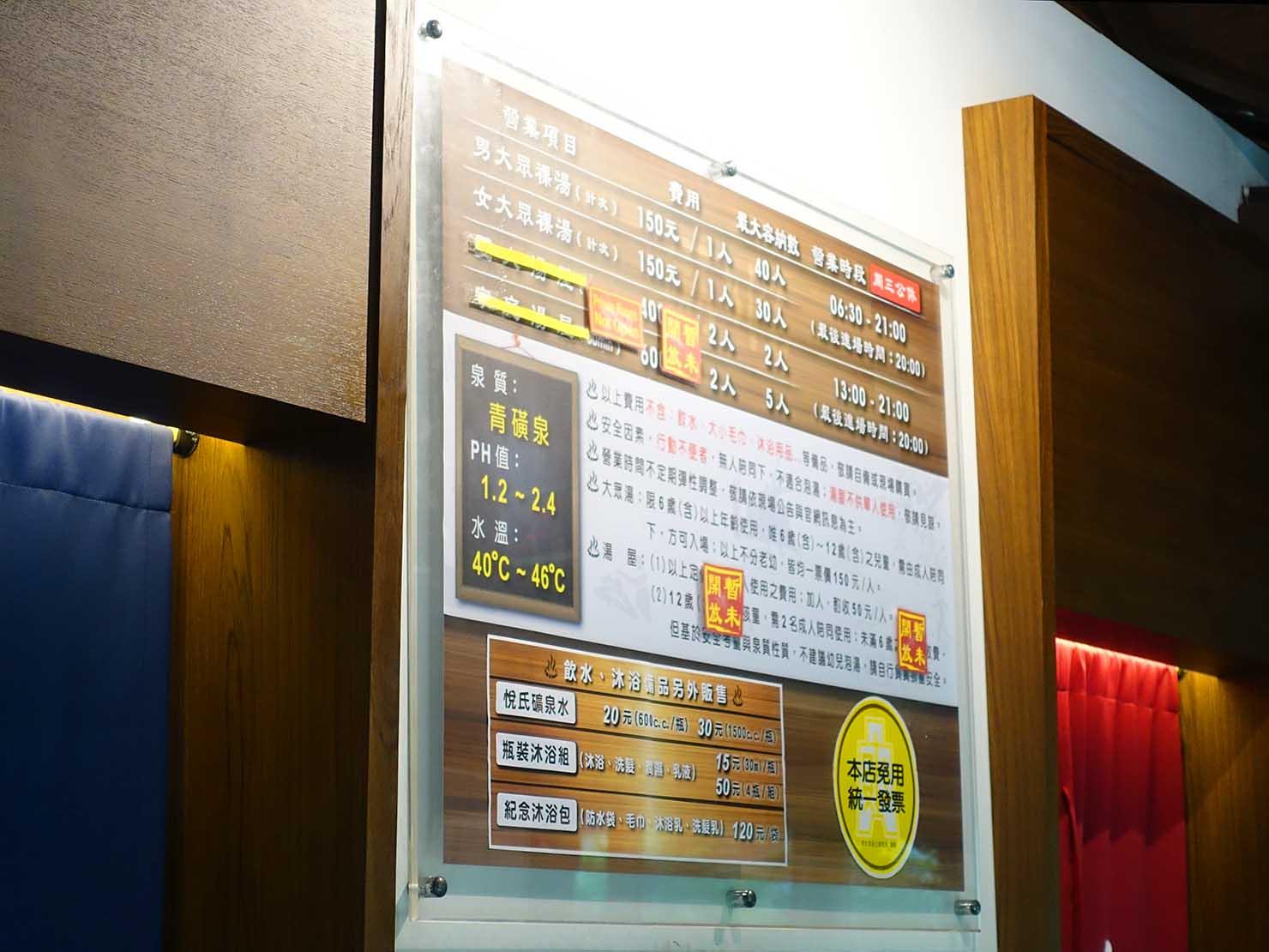 台北・北投温泉のおすすめ「瀧乃湯」の料金表