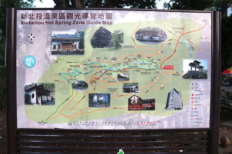 台北・北投温泉の案内マップ