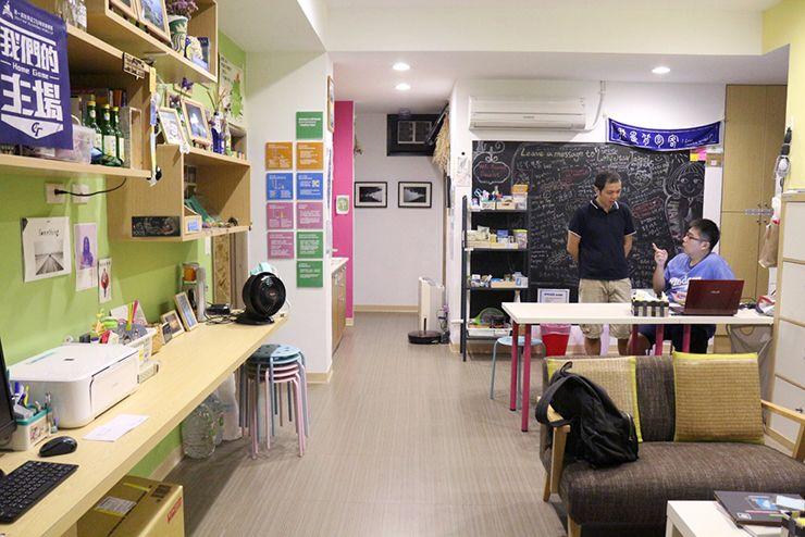 台北・北投温泉のゲストハウス「ロングステイ台北」のパブリックスペース