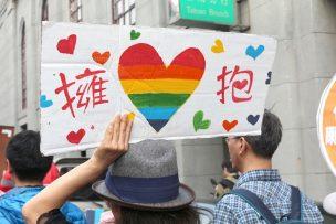 彩虹台南遊行(台南LGBTプライド)2015パレードのプラカード「擁抱」