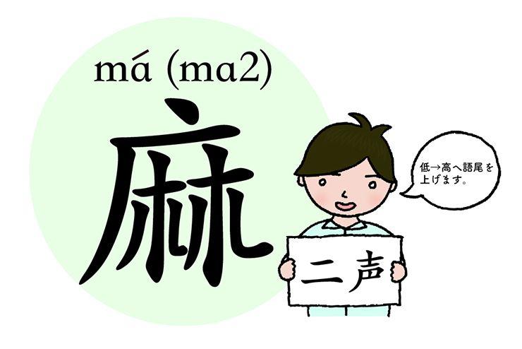 中国語発音の基本「麻」(二声)