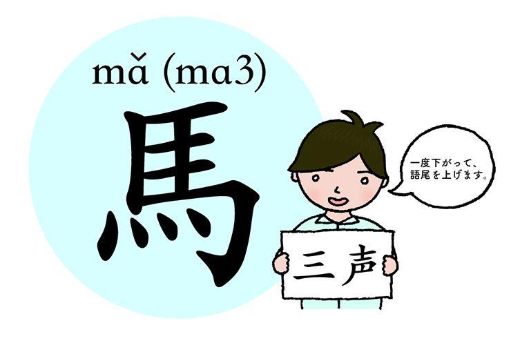 中国語発音の基本「馬」(三声)