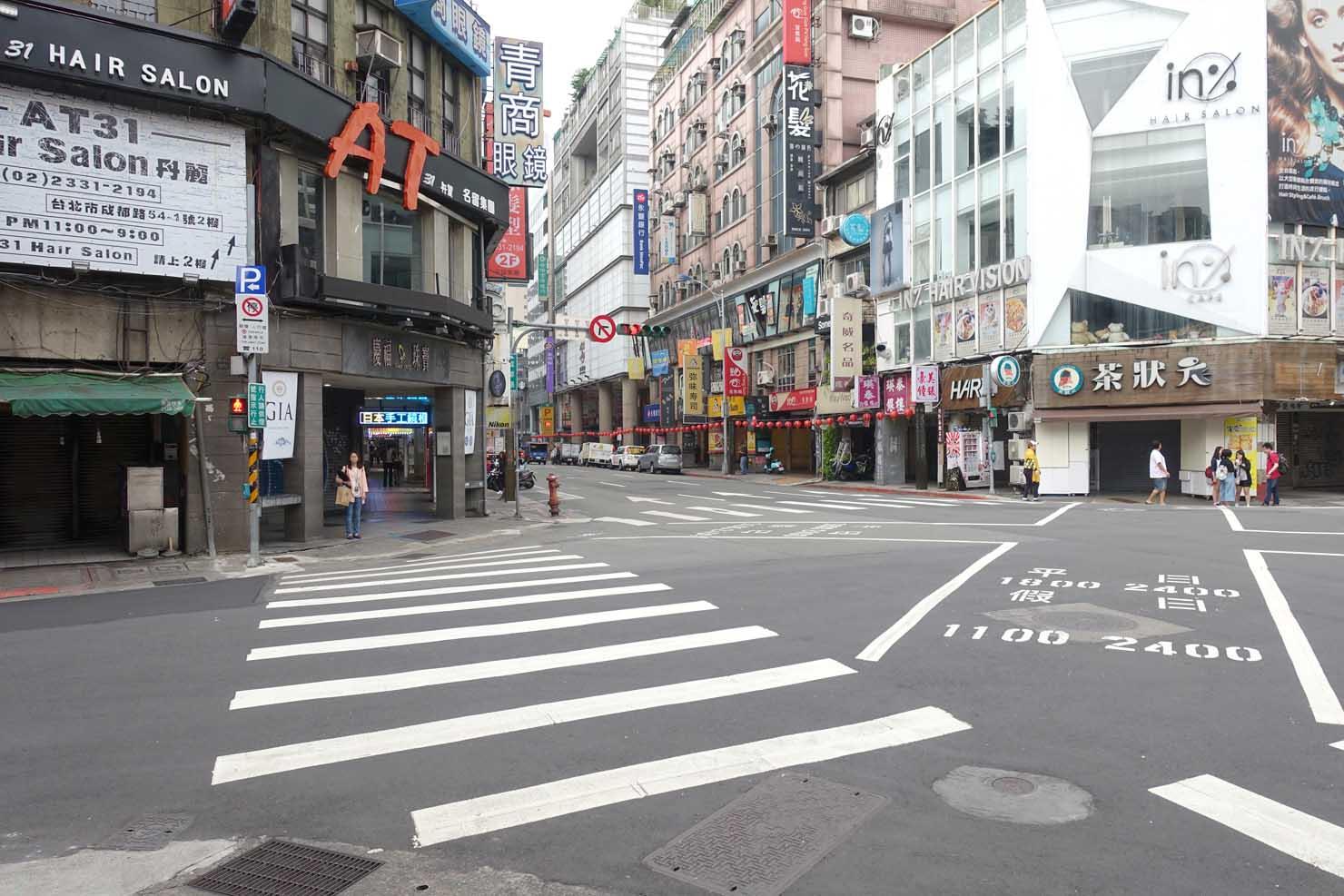 台北・西門町「成都西寧路口」の交差点