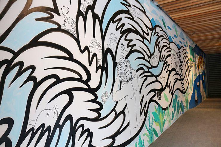 宜蘭・礁溪温泉「蔥澡 Hot Spring Onion」の壁に描かれた絵
