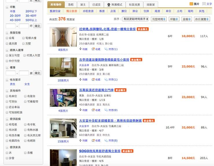 台湾のお部屋探しサイト「591」の使い方_8