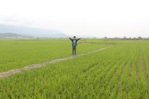 台湾の米どころ台東・池上の水田で記念撮影する『にじいろ台湾』作者:Mae