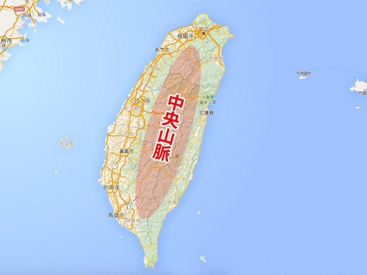 台湾・中央山脈の地理的な位置