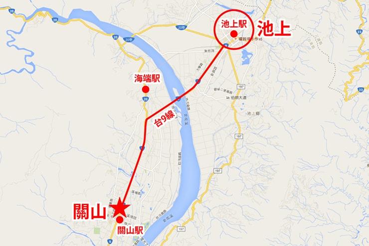台東・池上から關山までのマップ