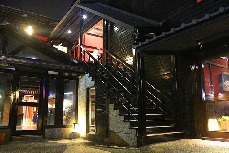 台北・行義路溫泉「湯瀬溫泉餐廳」の中庭