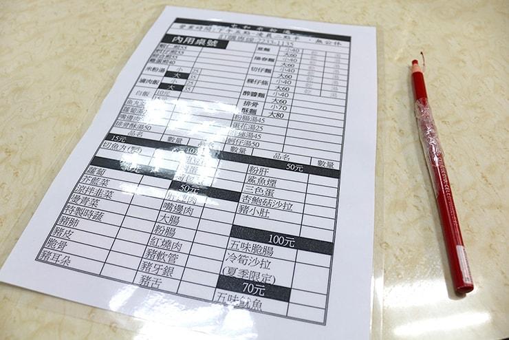 台北・永安市場「中和米粉湯」のメニュー