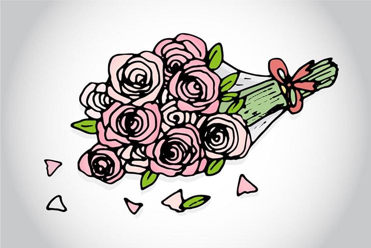 打ち捨てられたバラの花束