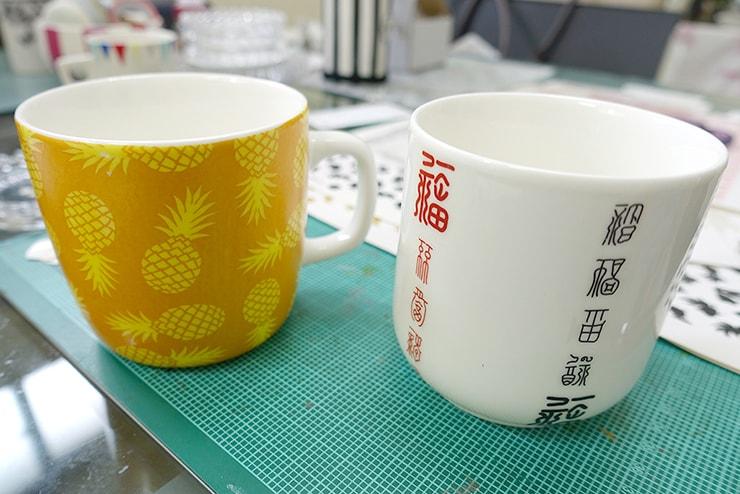 台北駅前のポーセラーツ教室「LaReine」デザイン完成後のカップ