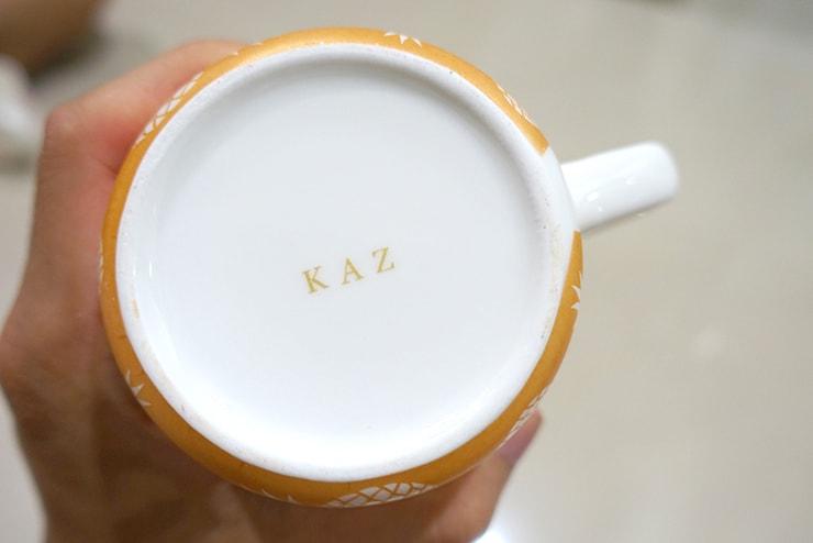 台北駅前のポーセラーツ教室「LaReine」の焼き上がったカップ底の名前
