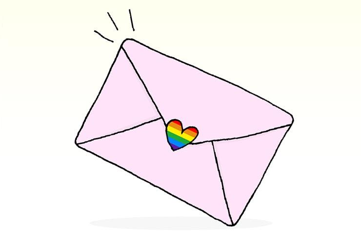 にじいろシールで封をしたピンクの封筒