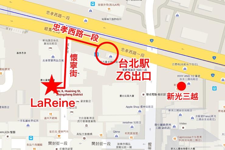 台北駅前のポーセラーツ教室「LaReine」へのマップ