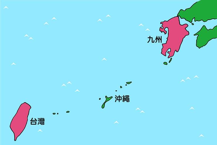 ほぼ同じ面積を持つ台湾と九州