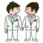 同性婚する男性二人のカップル