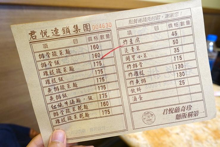 台北・南京復興「君悅排骨」のオーダー表