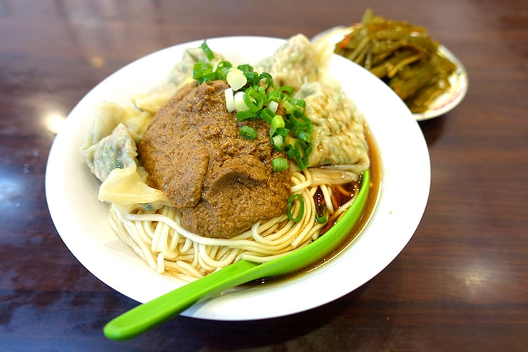 台北のワンタン麺チェーン店「老虎醬溫州大餛飩」の菜肉抄手麵