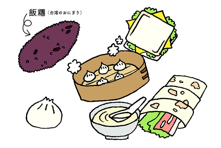 台湾式朝ごはんのイラスト(飯糰)