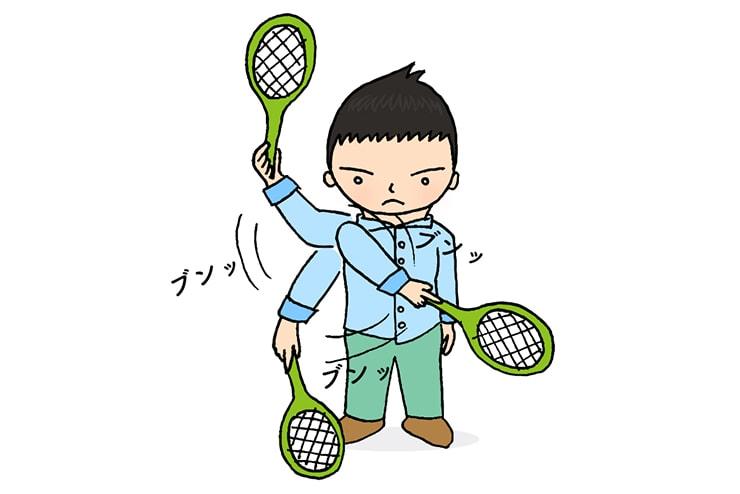 蚊取りラケットを振り回す台湾人彼氏