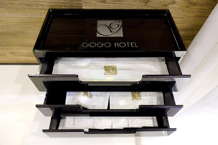 台中歌劇院徒歩圏内の快適ホテル「富盛商旅 GOGO HOTEL」麗緻客房(デラックスルーム)のアメニティ