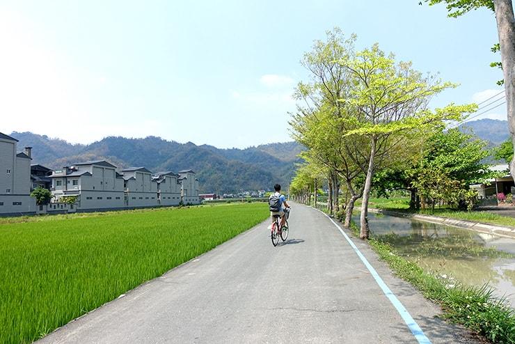 高雄・美濃の田園風景を走る自転車