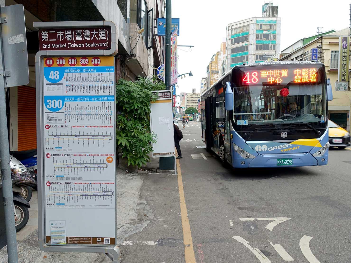 台中・第二市場最寄りのバス停「第二市場(台灣大道)」