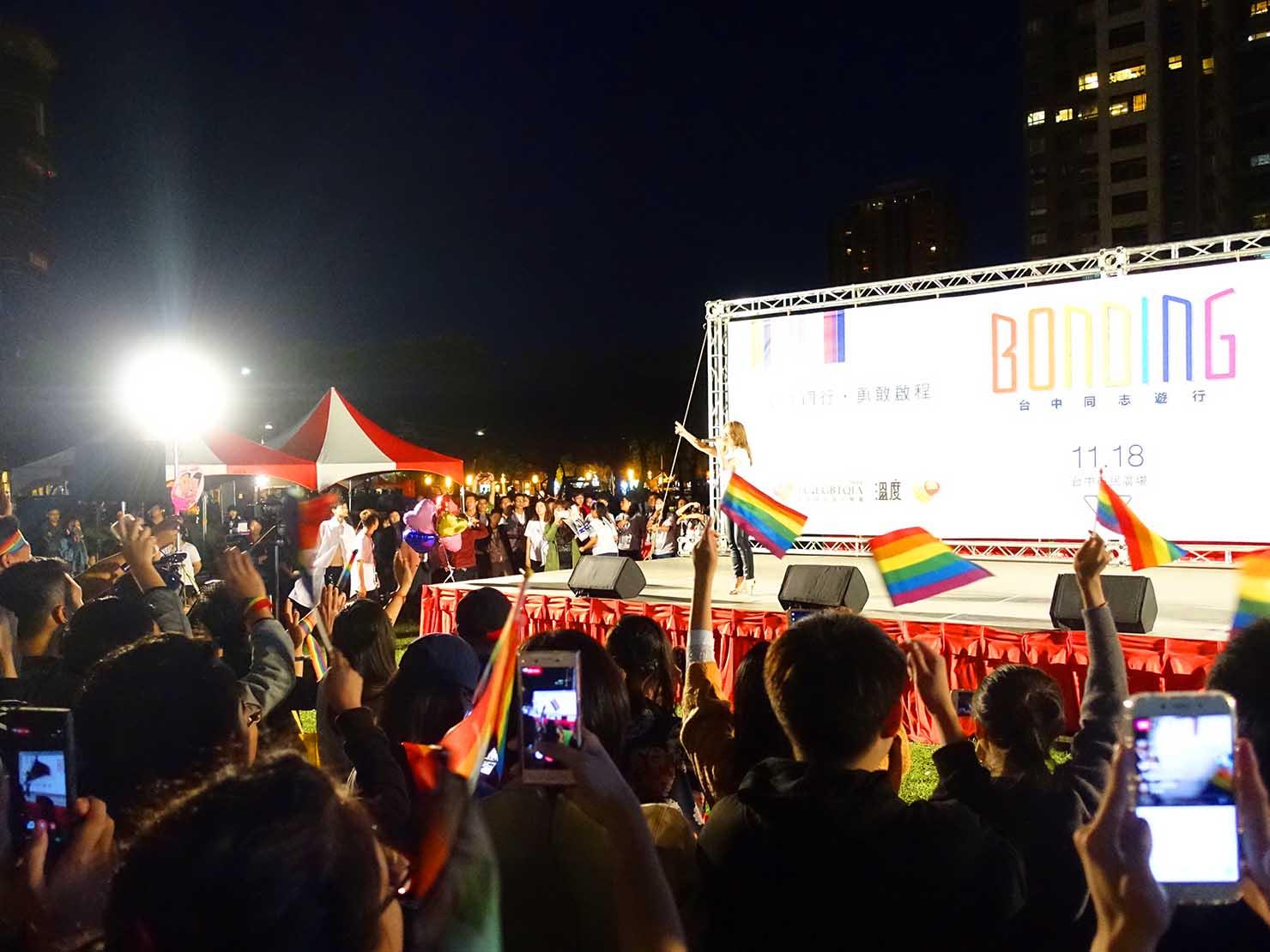 台中同志遊行(台中LGBTプライド)201の夜のステージパフォーマンス