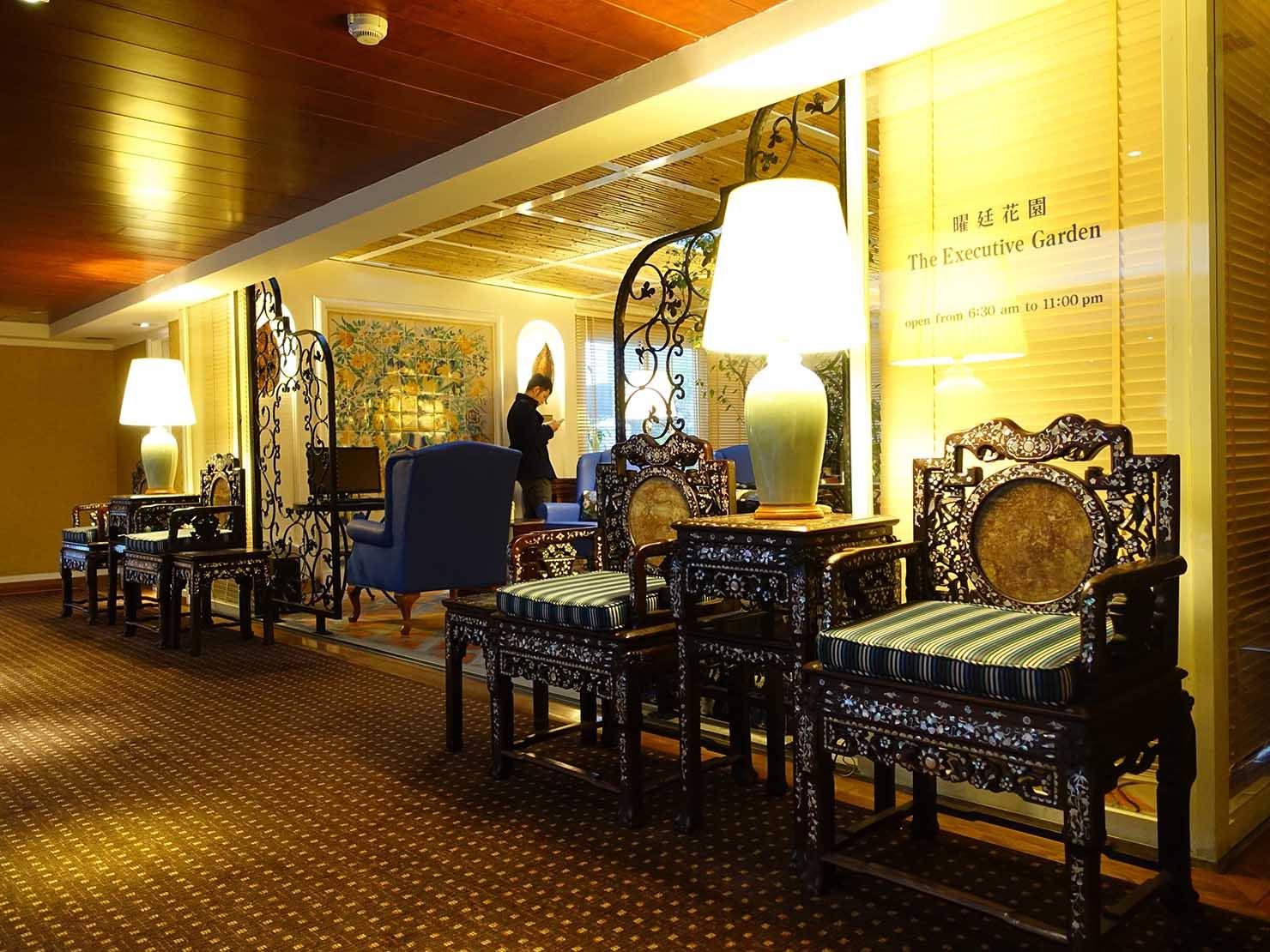 台北のおすすめ4つ星ホテル「歐華酒店(リビエラホテル)」7階・曜廷花園(エグゼクティブガーデン)のエントランス