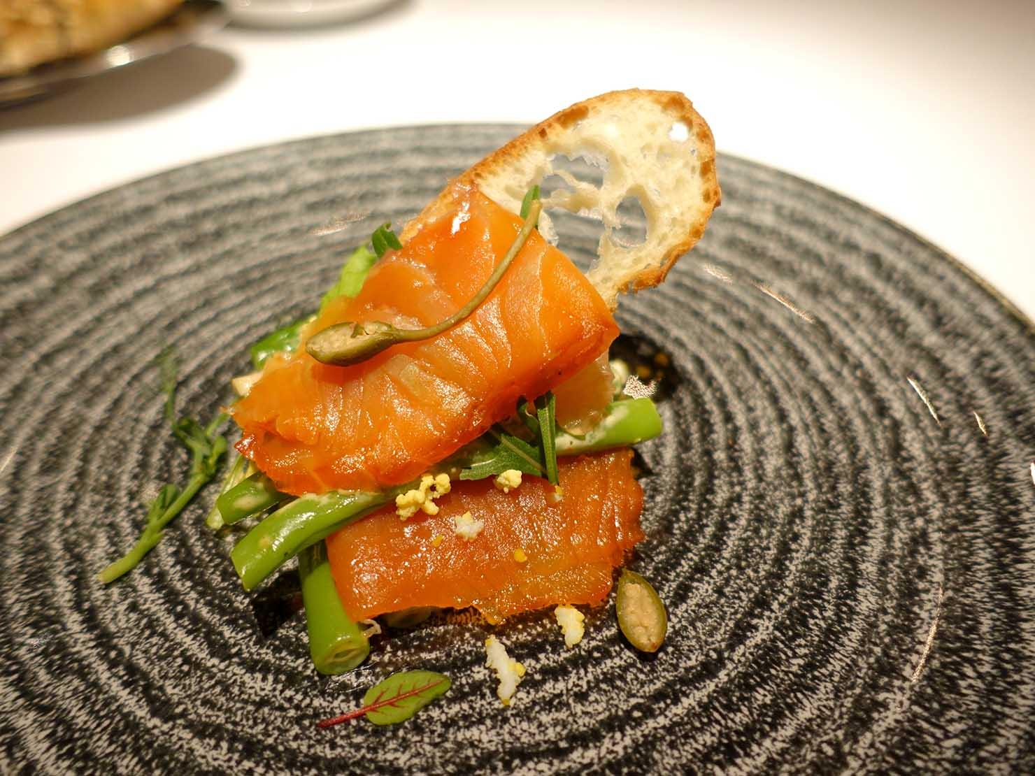 台北の4つ星ホテルにあるステーキハウス「地中海牛排館」の四季豆沙拉(エンドウ豆のサラダ)