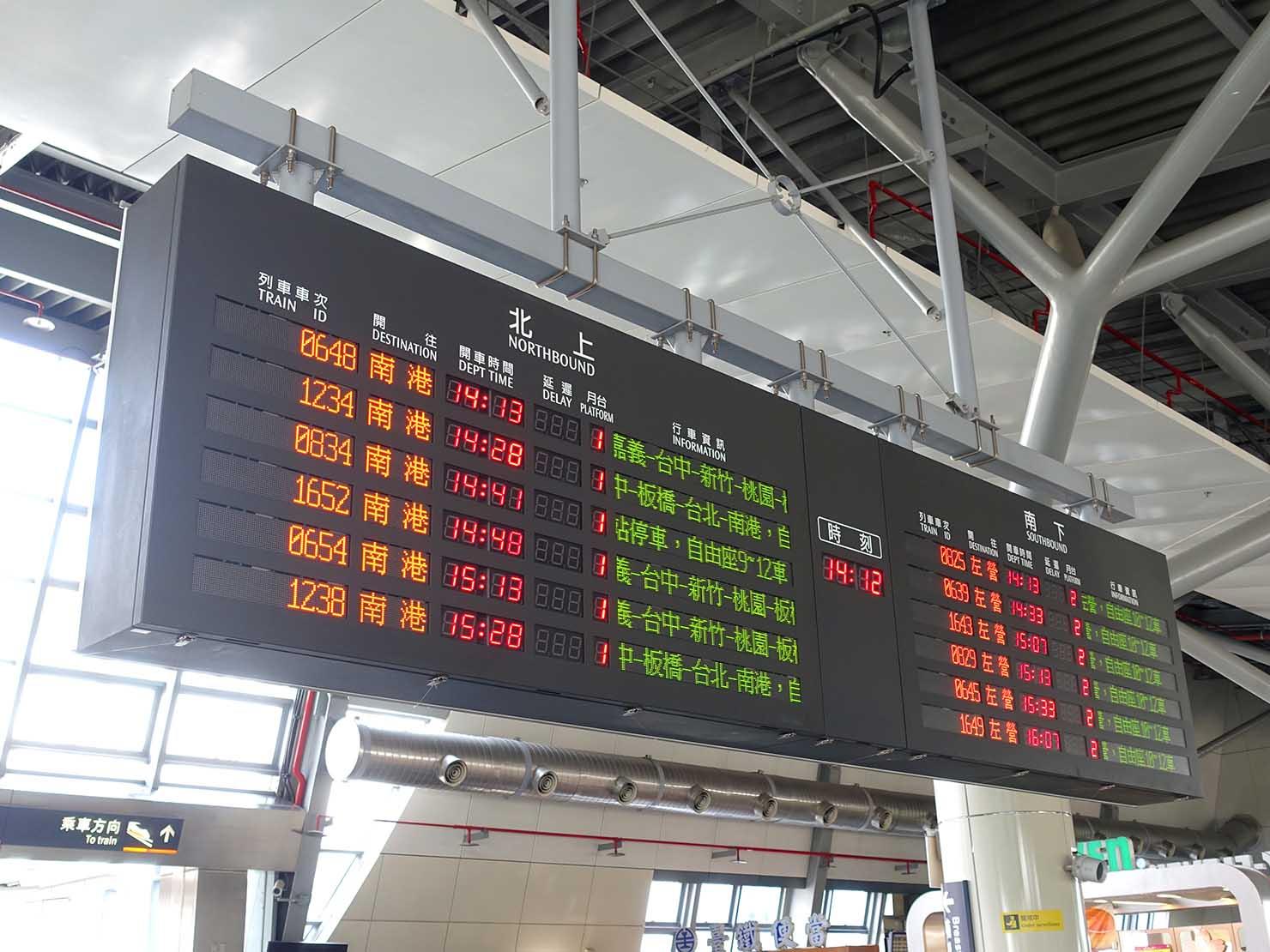 台湾新幹線(高鐵)台南駅の電光掲示板