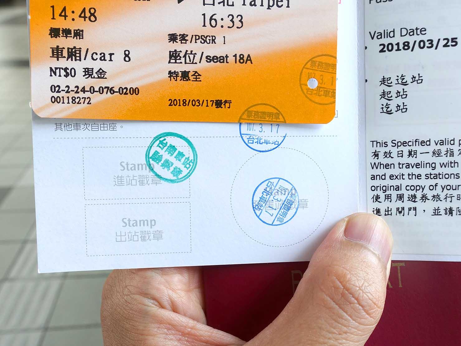 台湾新幹線(高鐵)外国人限定20%offチケットのスタンプ