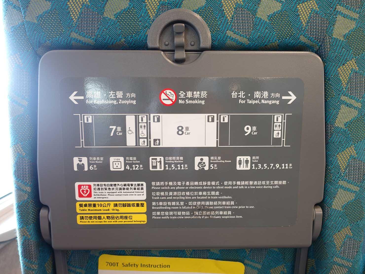 台湾新幹線(高鐵)の車内案内
