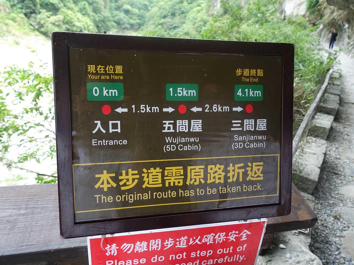 KKday外国人限定「花蓮・太魯閣(タロコ)日帰りツアー」砂卡噹步道のルート