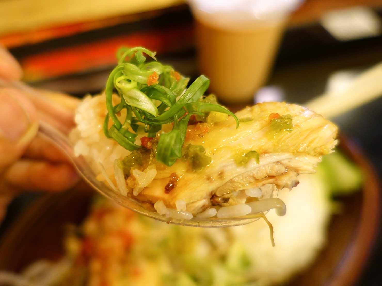 台北・中山駅周辺のおすすめグルメ店「甘榜馳名海南鶏飯」の海南雞飯(ハイナンチキンライス)クローズアップ
