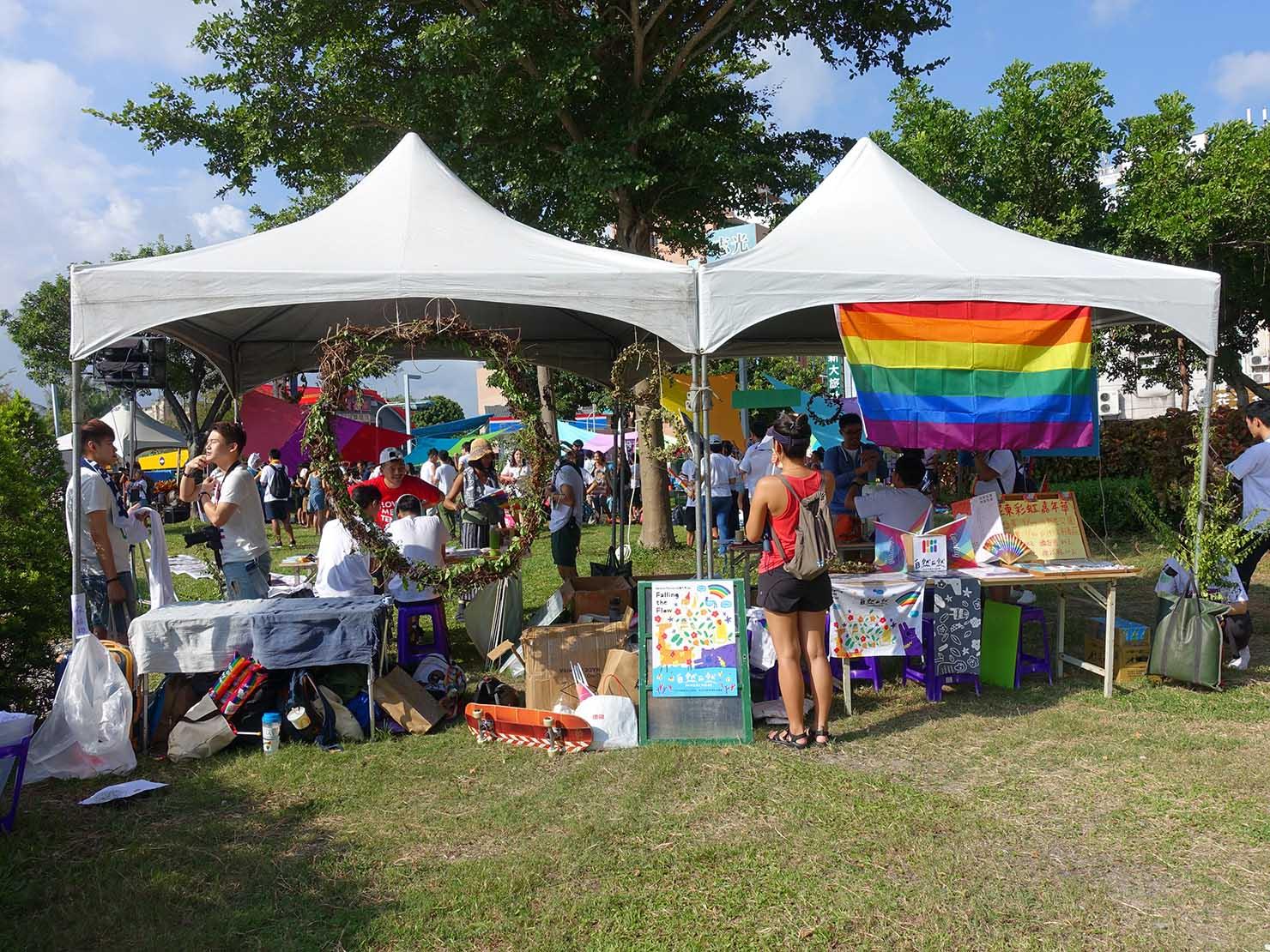 花東彩虹嘉年華(台湾東部LGBTプライド / 台東場)の集合地点・新生公園に出展するテント