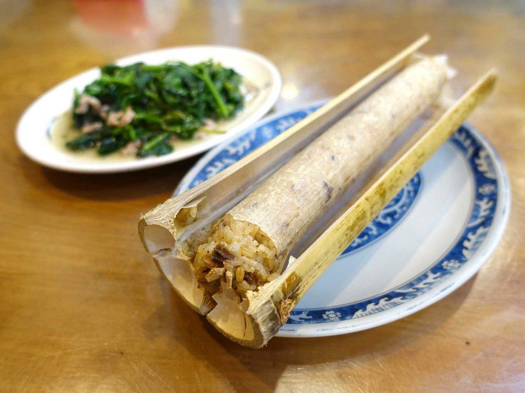 台北・烏來老街でいただける竹筒飯