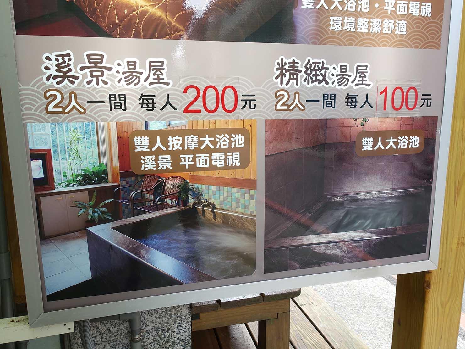 台北・烏來温泉の溫泉路に並ぶ湯屋の看板