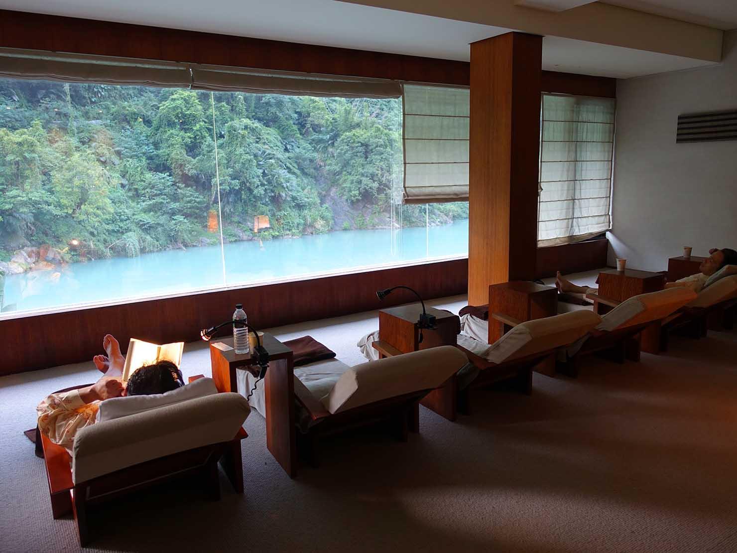 台北・烏來温泉「Volando Urai Spring Spa & Resort 馥蘭朵烏來渡假酒」の休憩スペース